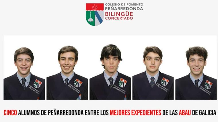 5 alumnos del colegio Peñarredonda, entre las notas más altas de la ABAU 2021 de Galicia